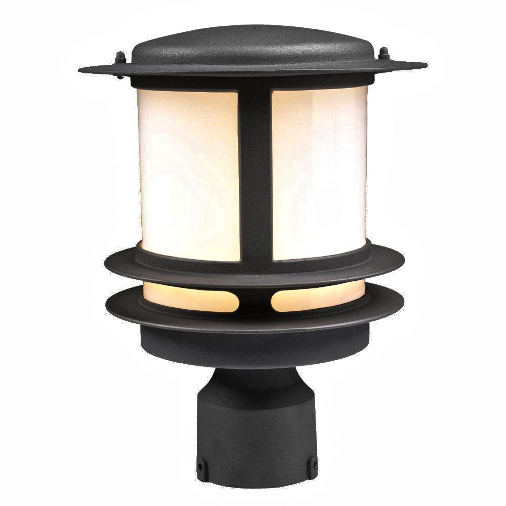 PLC Lighting 1-Light Outdoor Black Post Light with Opal Glass