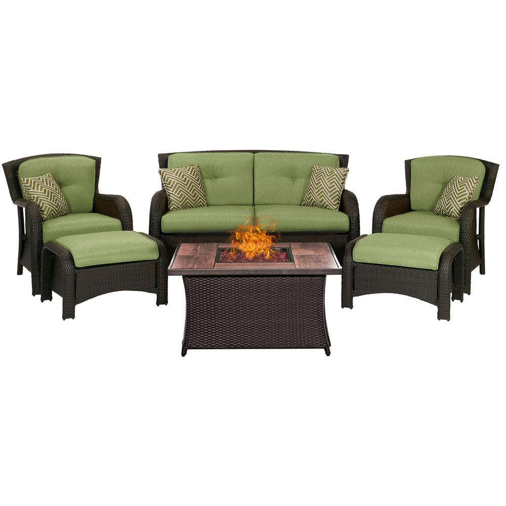Hanover Strathmere 6-Piece Woven Patio Seating Set with Wood Grain-Top Fire Pit with Cilantro Green Cushions