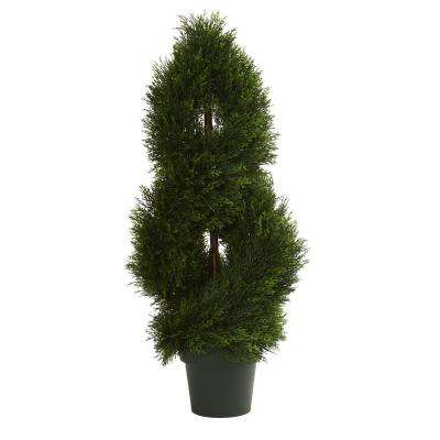 UV Resistant Indoor/Outdoor Double Pond Cypress Spiral Artificial Topiary Tree
