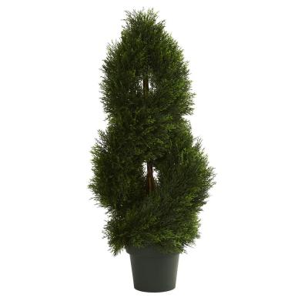 UV Resistant Indoor/Outdoor Double Pond Cypress Spiral Artificial Topiary Tree