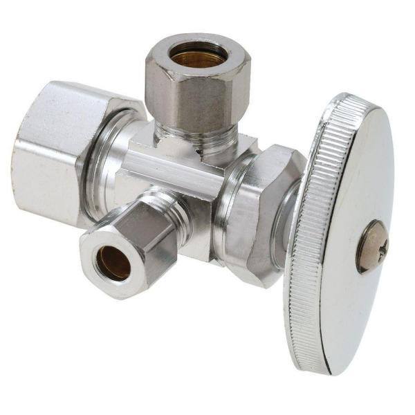 1/2 in. Nom Comp Inlet x 3/8 in. O.D. Comp x 1/4 in. O.D. Comp Dual Outlet Dual Shut-Off Multi-Turn Angle Valve