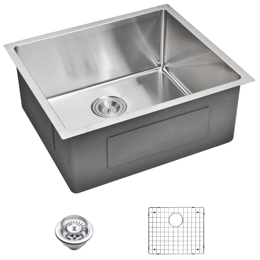 Undermount Small Radius Stainless Steel 23.in 0-Hole Single Bowl Kitchen Sink