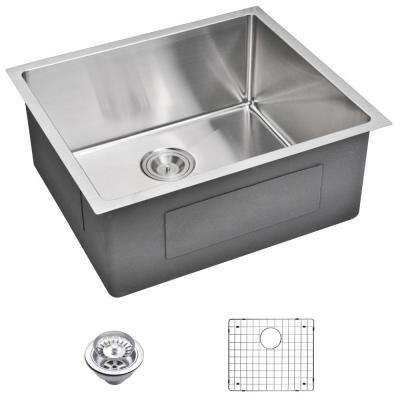 Undermount Small Radius Stainless Steel 23.in 0-Hole Single Bowl Kitchen Sink with Strainer and Grid in Satin Finish