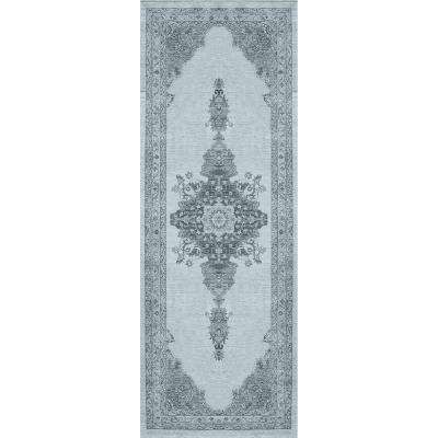 Washable Parisa Blue 3 ft. x 7 ft. Stain Resistant Runner Rug