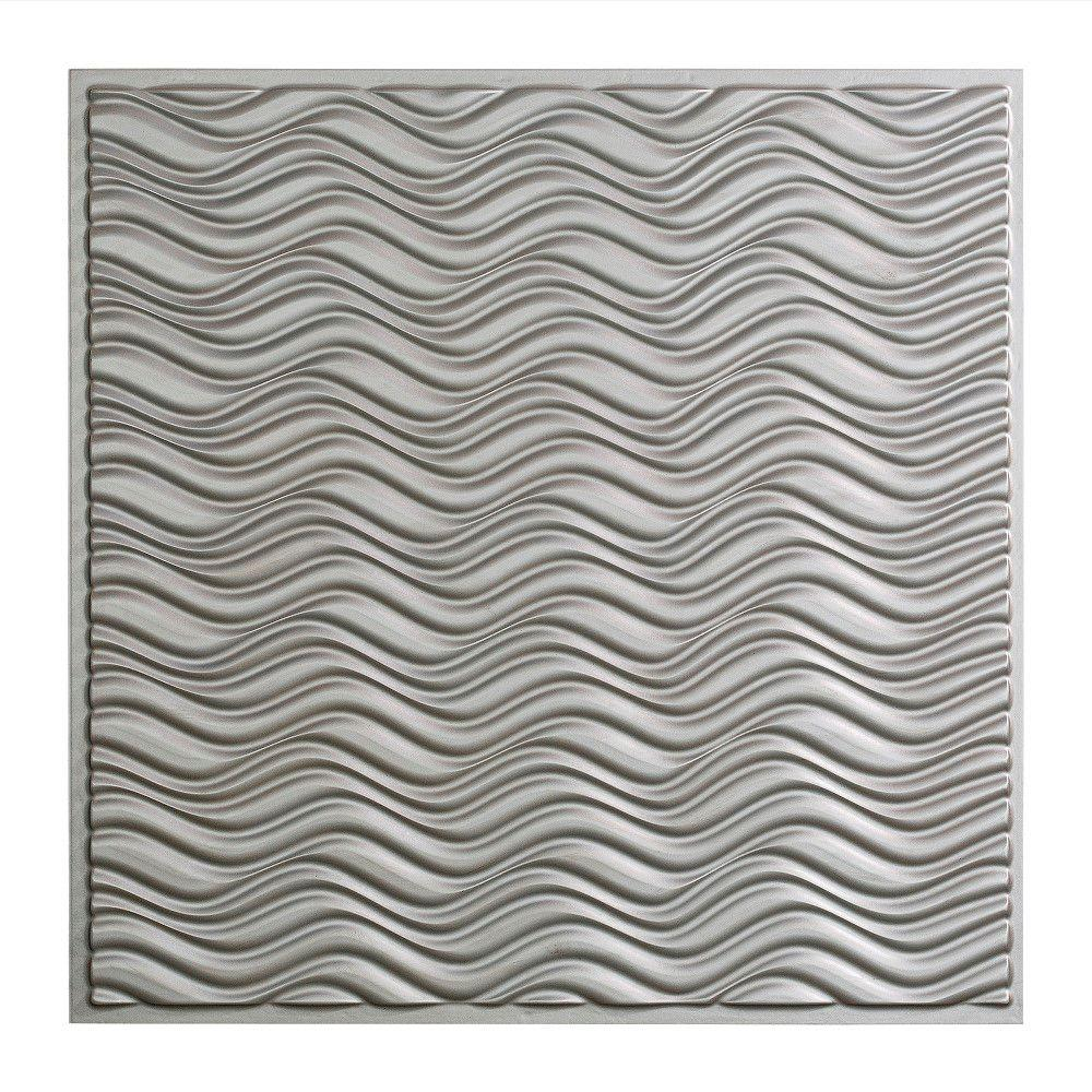 Fasade Current - 2 ft. x 2 ft. Lay-in Ceiling Tile in Argent Silver
