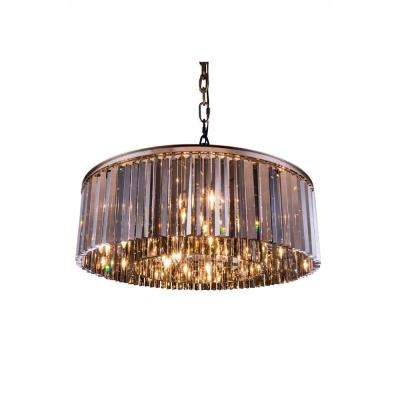 Sydney 10-Light Polished Nickel Chandelier with Silver Shade Grey Crystal