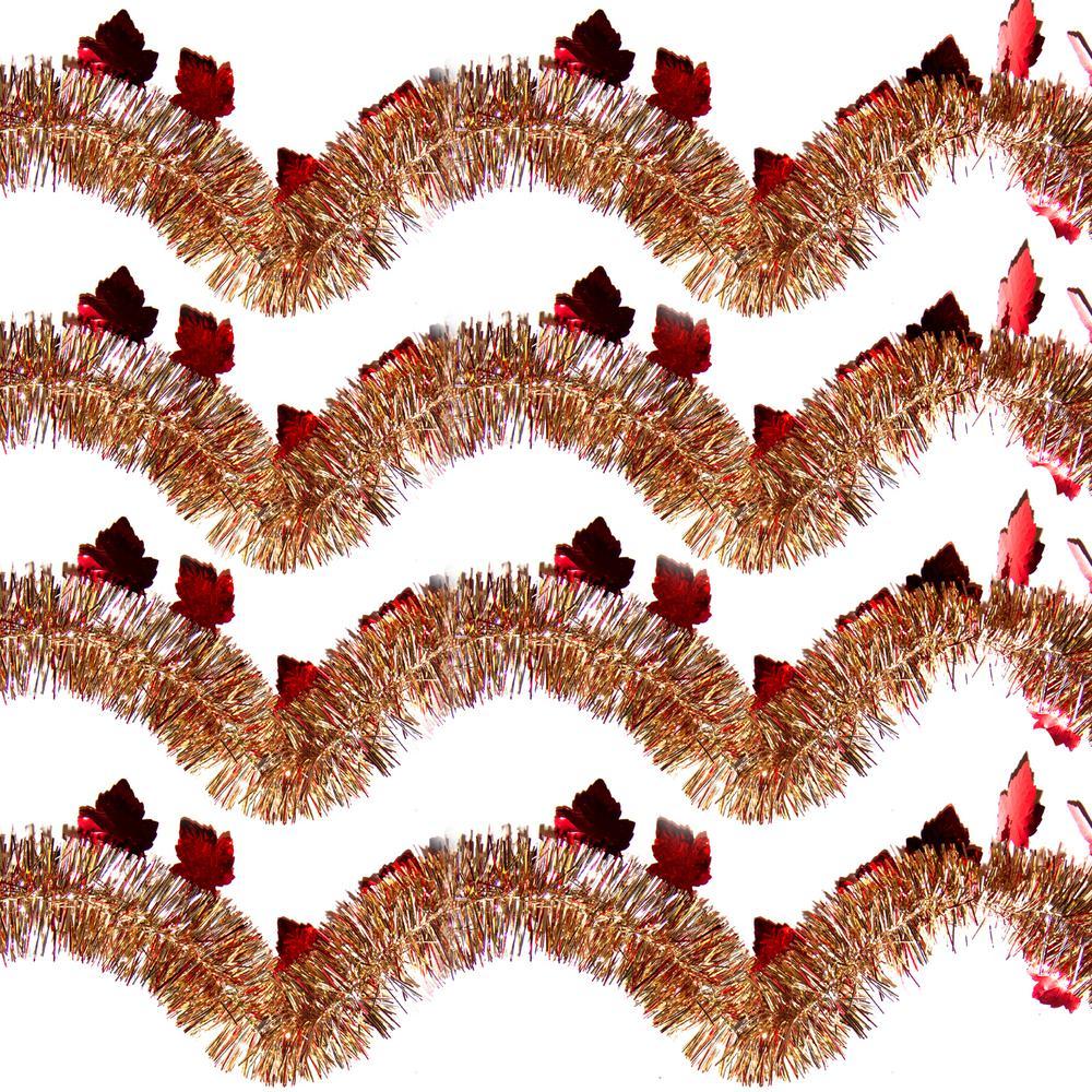 9 ft. Autumn Ochre Maple Leaf Tinsel (Set of 4)