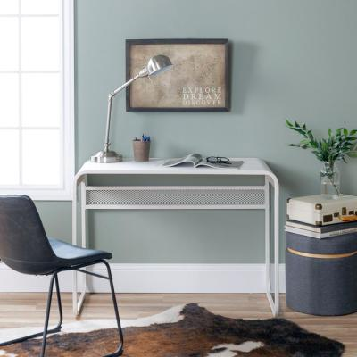 42 in. Matte White Metal Desk with Curved Top
