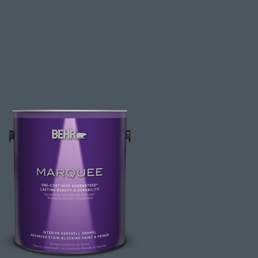 1 gal. #N480-7 Midnight Blue One-Coat Hide Eggshell Enamel Interior Paint