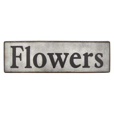 Meta Novelty Sign- Flower Finished in Gray - 31 X 0.25 X 9
