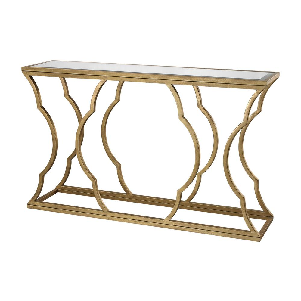 An Lighting Metal Cloud Antique Gold Leaf Mirrored Top Console Table