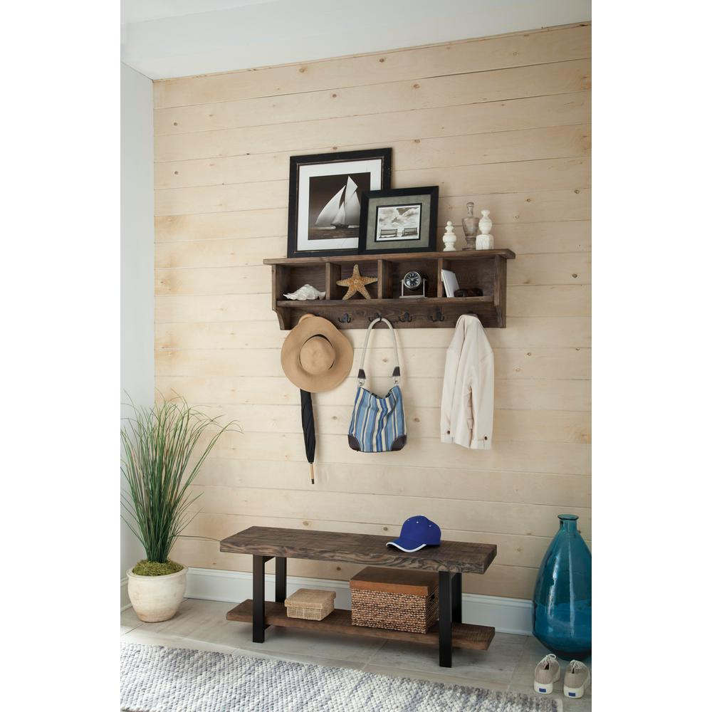 Pomona Metal and Reclaimed Wood Wall Coat Hook and Bench