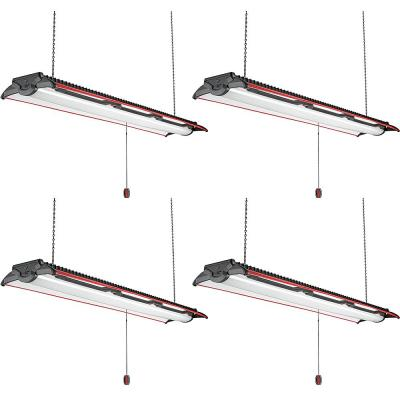 4ft. 96-Watt Equivalent Heavy Duty Style Integrated LED Black and Red Shop Light High Output 5500 Lumens 4000K (4-Pack)