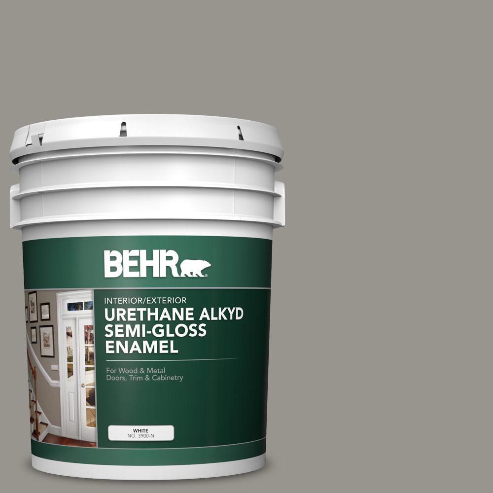 5 gal. #N360-4 Battleship Gray Urethane Alkyd Semi-Gloss Enamel Interior/Exterior Paint