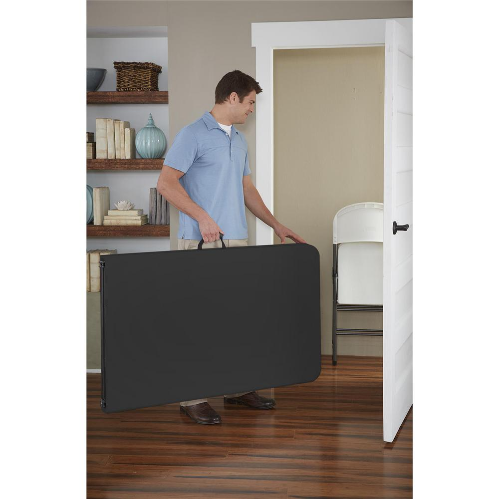 Cosco Deluxe 8 ft Black Fold in Half Blow Molded Folding Table