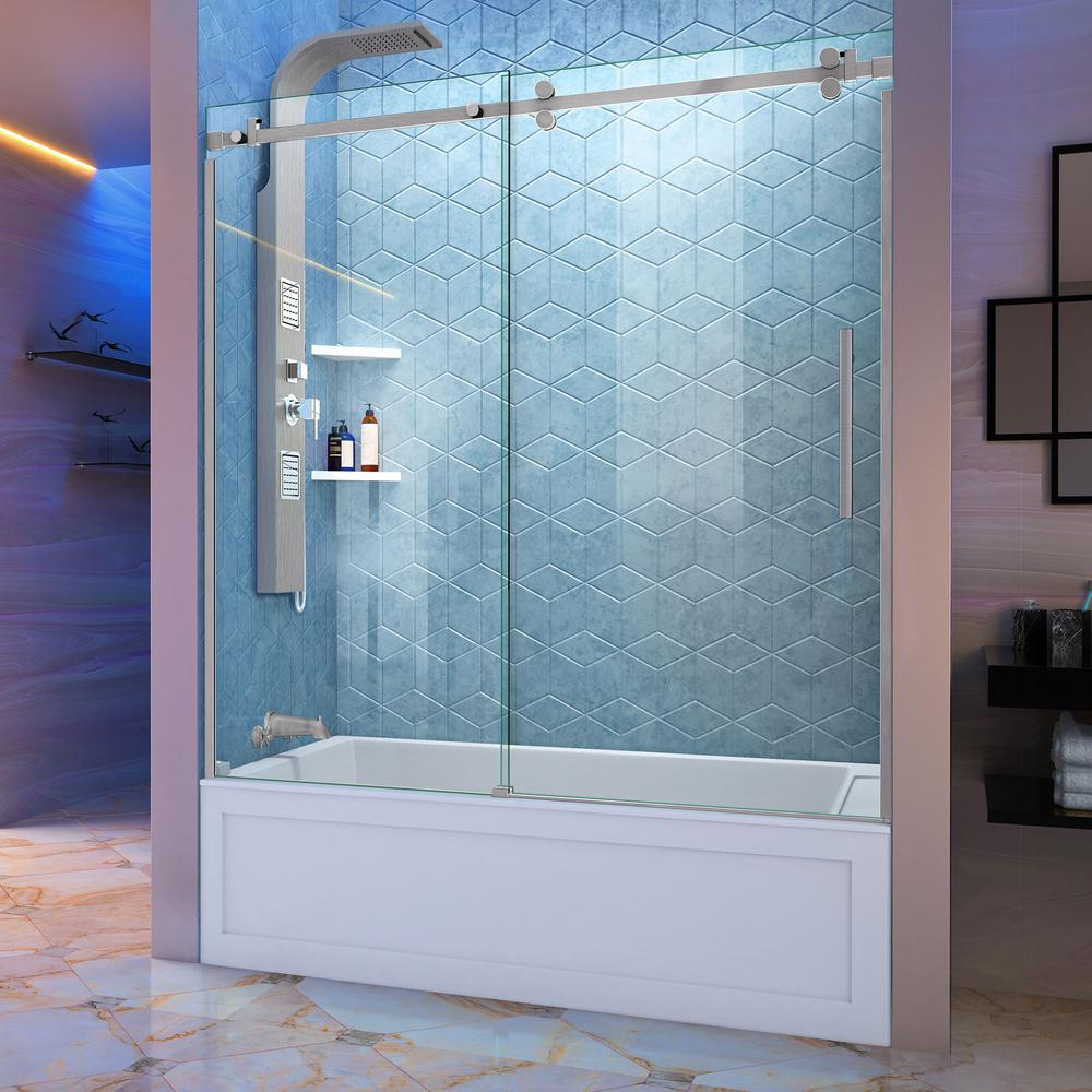 DreamLine Enigma Sky 60 in. W x 62 in. H Frameless Sliding Tub Door ...