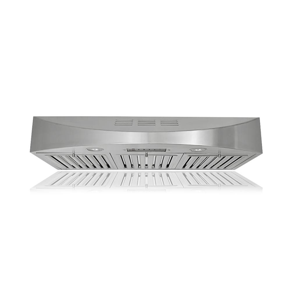 KOBE Range Hoods 36 in. 400 CFM Ductless Under Cabinet Range Hood in Stainless Steel (Silver) KOBE Brillia 36 in. ductless/ recirculating under cabinet range hood is equipped with 3-speed mechanical push button, dishwasher-safe baffle filters, charcoal filters, and LED lights. It is a powerful recirculating hood with 400 CFM internal blower yet quiet at 1.2 sone on QuietMode. This range hood is handcrafted with 18-Gauge commercial grade stainless steel and features a beautiful seamless design.