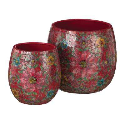 Red Mosaic Planter (Set of 2)