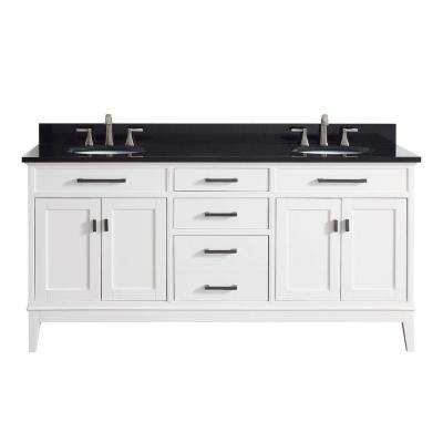 Madison 73 in. W x 22 in. D x 35 in. H Vanity in White with Granite Vanity Top in Black with White Basin