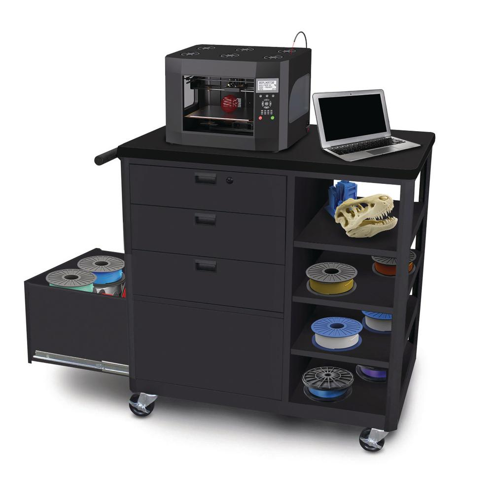 36 in. 3 D-Printer Cart Workbench 3 Front Drawers in Black