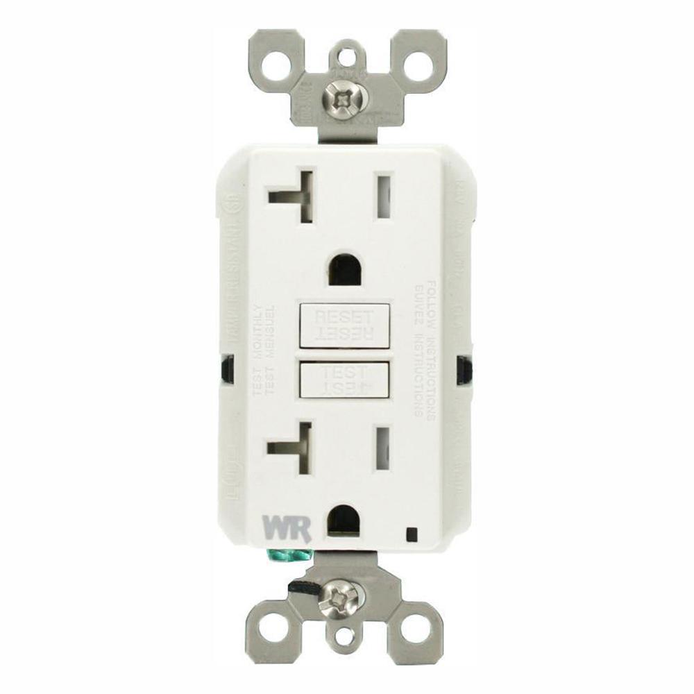 20 Amp 125-Volt Duplex Self-Test Tamper Resistant/Weather Resistant GFCI Outlet, White (3-Pack)