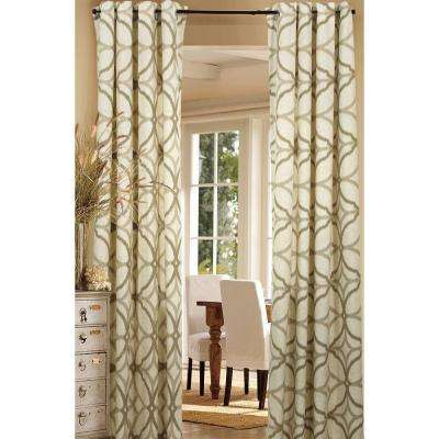 Semi-Opaque Harlequin Beige Cotton and Polyester Half Panama Curtain - 50 in. W x 84 in. L