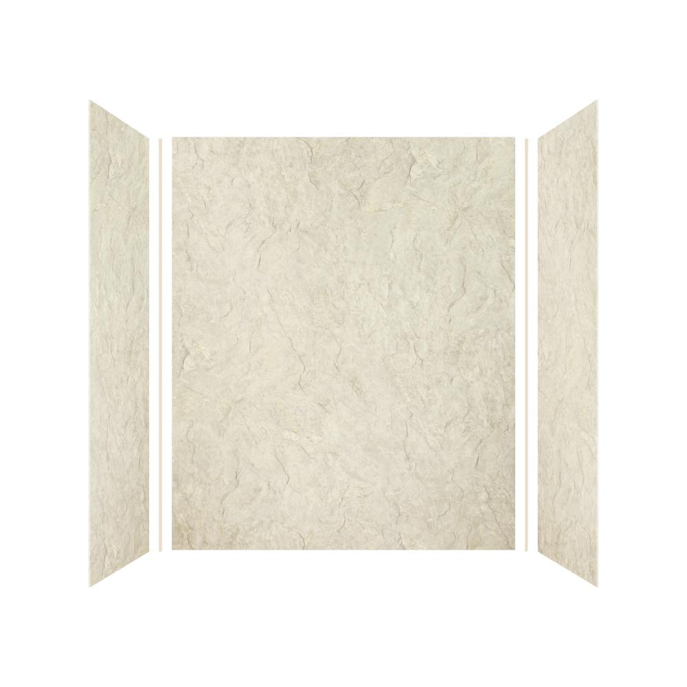Transolid Expressions 32 in. x 60 in. x 72 in. 3-Piece Easy Up Adhesive Alcove Shower Wall Surround in Sea Fog