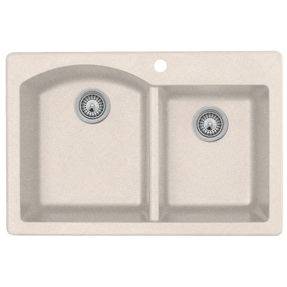 Drop-In/Undermount Granite 33 in. 1-Hole 55/45 Double Bowl Kitchen Sink in