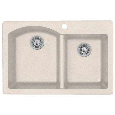 Drop-In/Undermount Granite 33 in. 1-Hole 55/45 Double Bowl Kitchen Sink in Granito