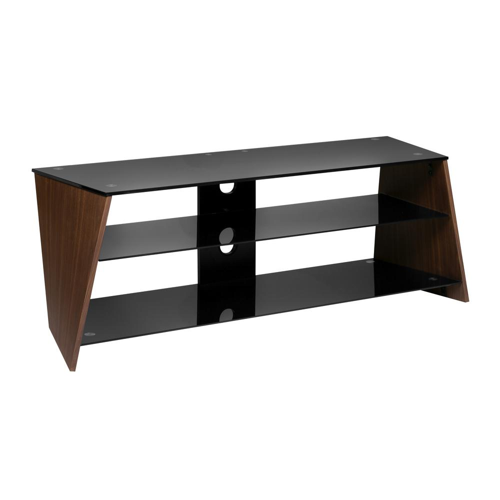 Onee Walnut Veneer Twisted Wood Tv Stand With Black Tempered Gl