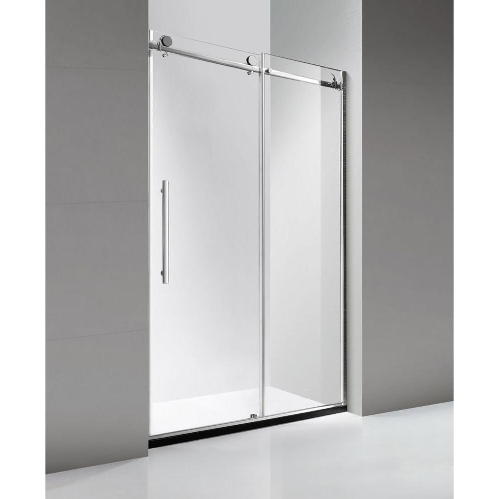 Dreamwerks 48 in. x 79 in. Luxury Frameless Sliding Shower Door in on home depot bathrooms showroom, home depot shower walls, home depot faucets and fixtures, home depot baseball, home depot glass shower, home depot product search, home depot showers and prices, home depot kitchen refacing, home depot employees, home depot kitchen cabinets, home depot bath catalog, home depot kitchen design, home depot store, home depot handicapped showers, home depot shower base, home depot appliances, home depot remodeling services, home depot kitchen remodeling, home depot bathtubs, home depot tub enclosures,
