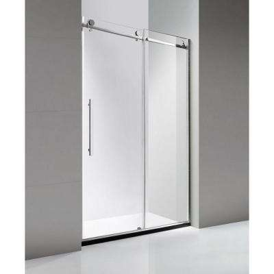 48 in. x 79 in. Luxury Frameless Sliding Shower Door in Stainless Steel