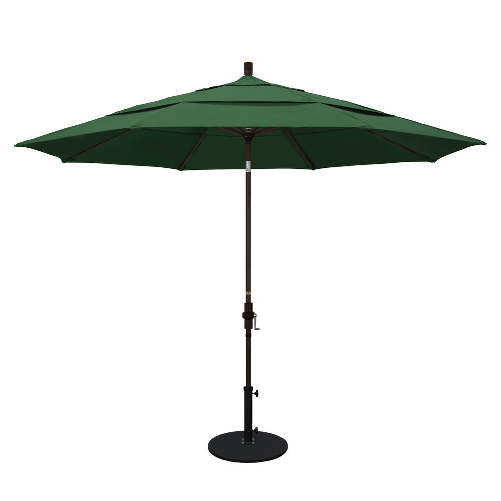 11 ft. Aluminum Collar Tilt Double Vented Patio Umbrella in Hunter Green Olefin