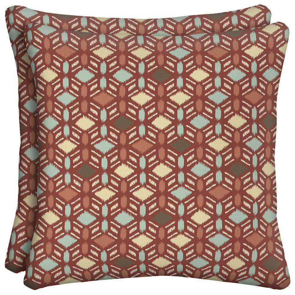 Hampton Bay Casa Grande Square Outdoor Throw Pillow (2-Pack)