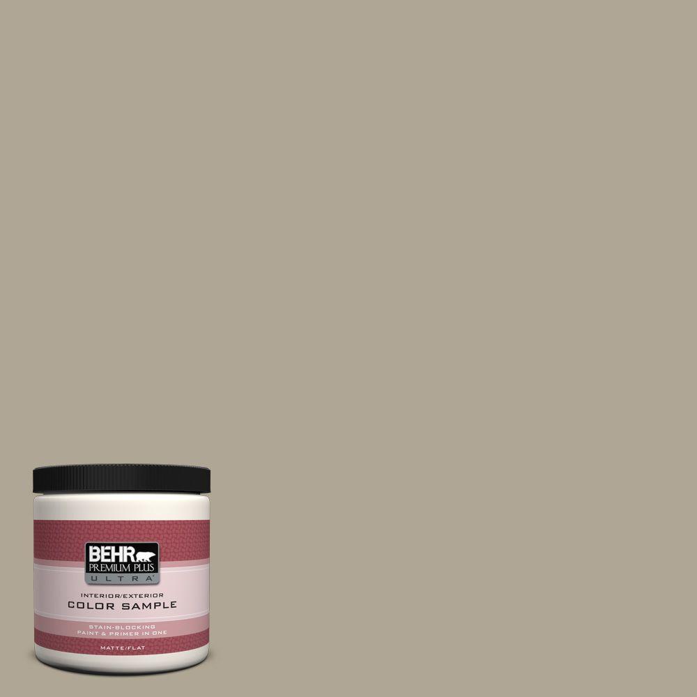 BEHR Premium Plus Ultra 8 oz. #PPU8-19 Stone Walls Flat Interior/Exterior Paint and Primer in One Sample