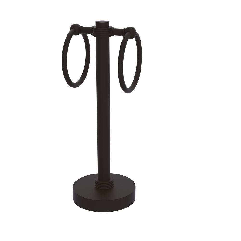 Vanity Top 2 Towel Ring Guest Towel Holder with Groovy Accents