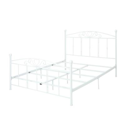 Queen-Size White Iron Bed Frame