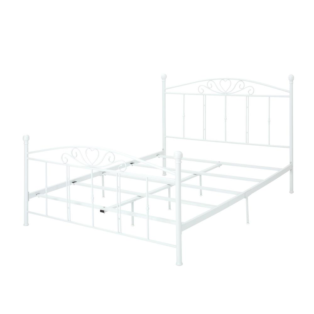 Noble House Queen Size White Iron Bed Frame 303249 The Home Depot