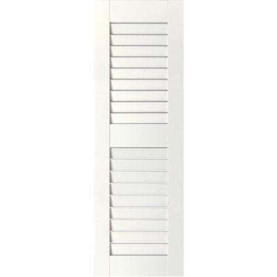 15 in. x 54 in. Exterior Real Wood Pine Louvered Shutters Pair Primed