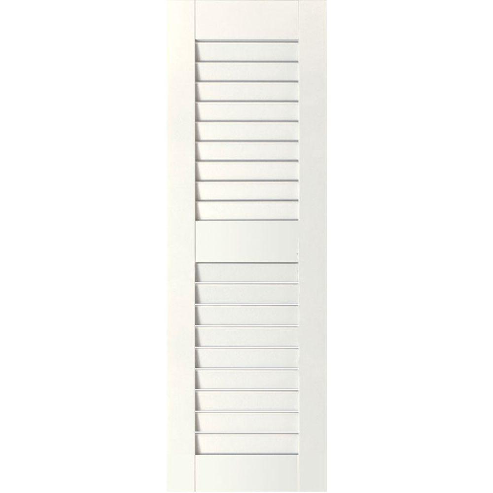 Ekena Millwork 12 in. x 27 in. Exterior Real Wood Pine Louvered Shutters Pair Primed