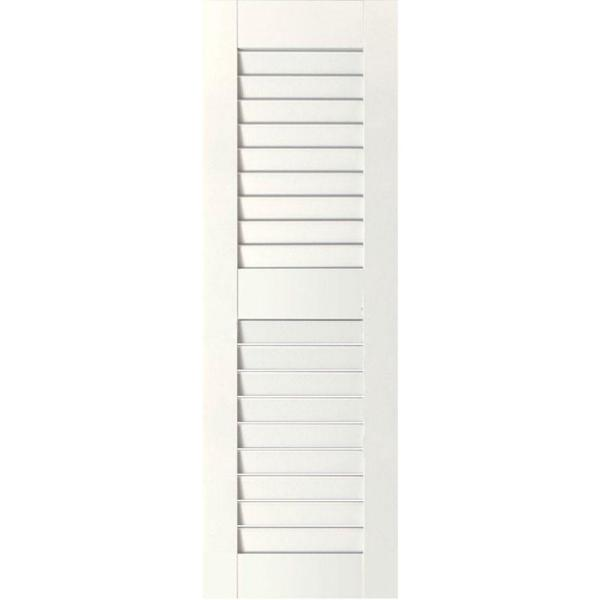Ekena Millwork 12 In X 28 In Exterior Real Wood Western Red Cedar Louvered Shutters Pair Primed Rwl12x028prw The Home Depot