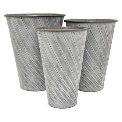 17 in. Galvanized Containers (Set of 3)