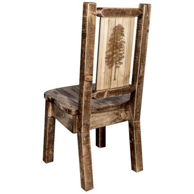 Homestead Collection Early American with Laser Engraved Pine Tree Design Dining Side Chair