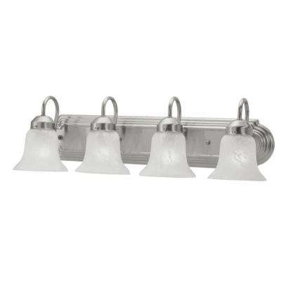 4-Light Brushed Nickel Bath Light with White Alabaster Glass Shade