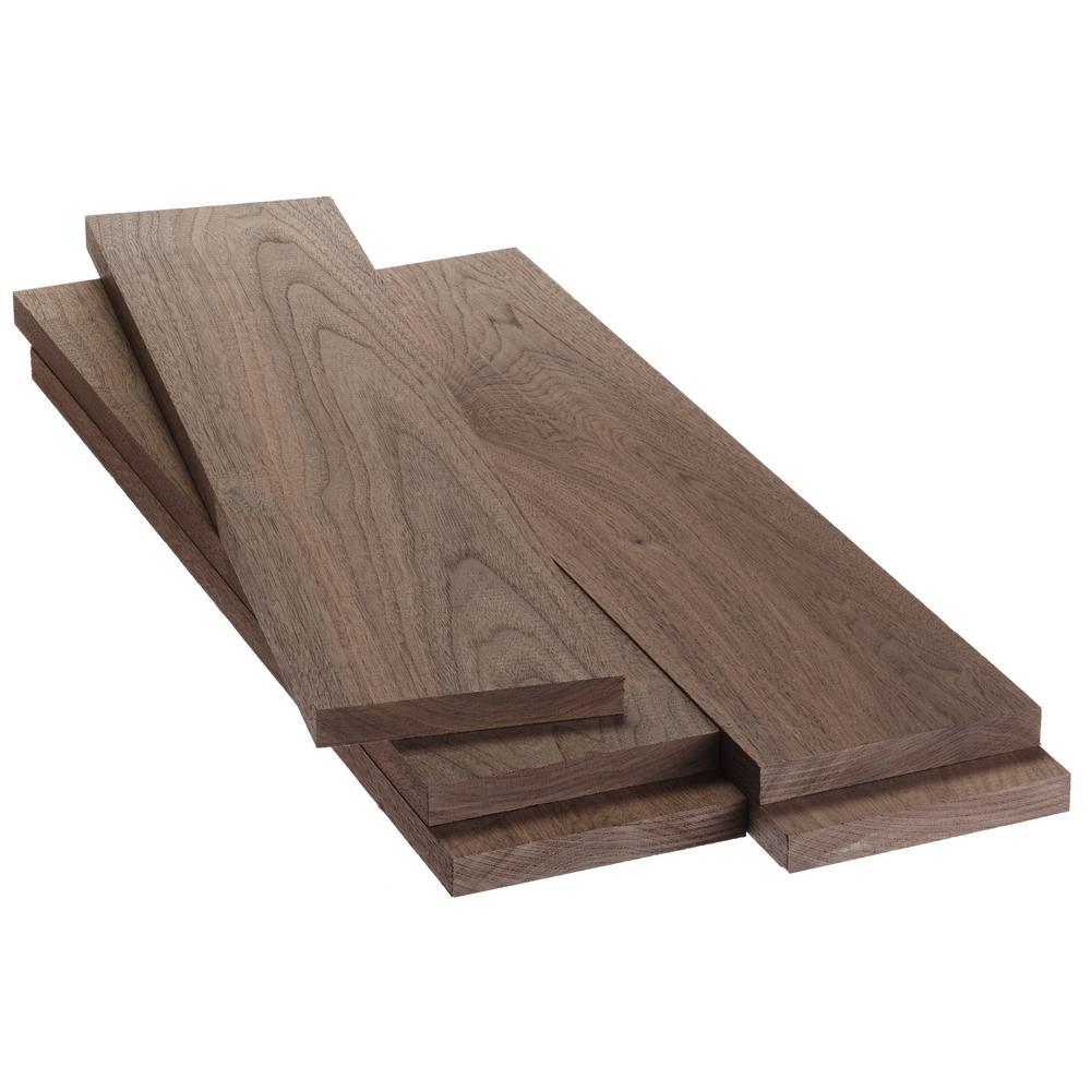 1 in. x 6 in. x 2 ft. Walnut S4S Board (5-Pack)