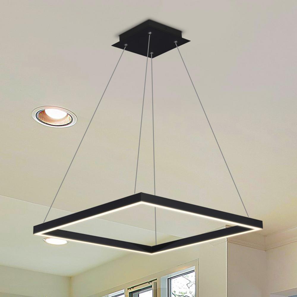 Atria Square 38-Watt Black Integrated LED Chandelier