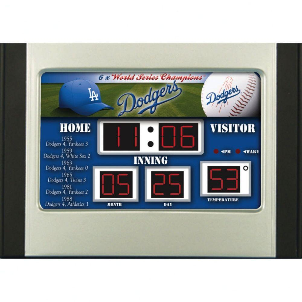 null Los Angeles Dodgers 6.5 in. x 9 in. Scoreboard Alarm Clock with Temperature