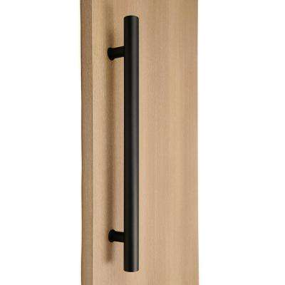 Ladder Style 16 in. x 1-1/4 in. Back-to-Back Black Powdered Stainless Steel Door Pull Handle