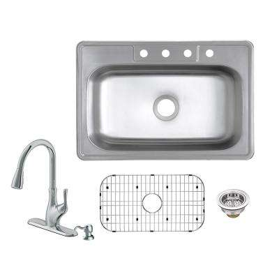 All-in-One Drop-In 20-Gauge Stainless Steel 33 in. 4-Hole Single Bowl Kitchen Sink with Pull-Out Kitchen Faucet