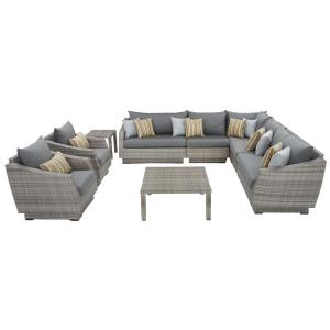 Cannes 9-Piece Patio Corner Sectional and Club Chair Seating Group with Charcoal Grey Cushions